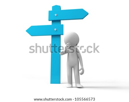 road sign/A man standing in front of a road sign