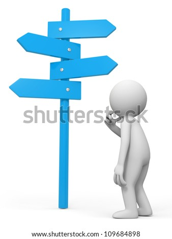 road sign /a people is standing in front of a road sign thinking