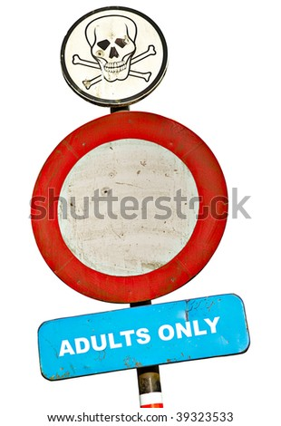 road sign adults only with skull text and bullet holes