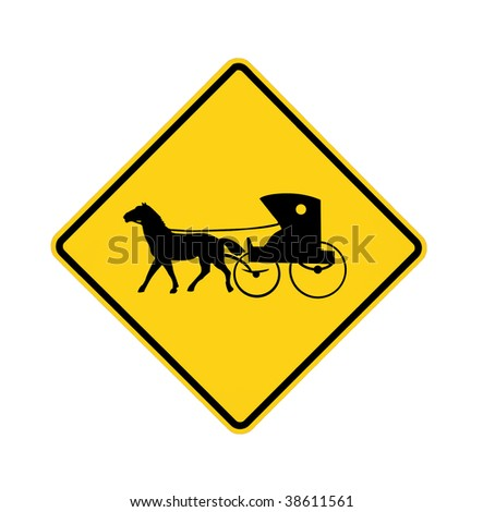 Horse Road Sign Road Sign Amish Buggy And