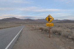 Road sign at the turnoff to Death Valley