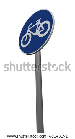 road sign bicycle on white background - 3d illustration