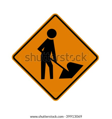 road sign - construction worker