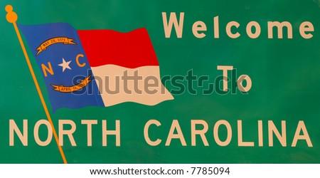Road sign entering North carolina in america