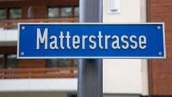 Road sign for street name in Zermatt, Switzerland. Translation: