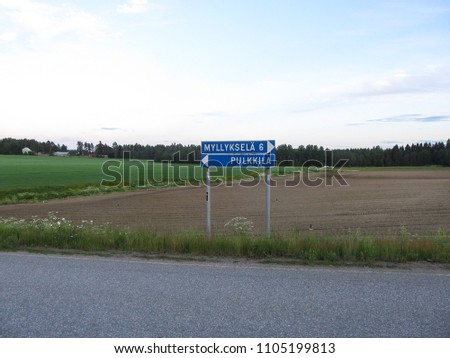Road sign in Asikkala,  Finland