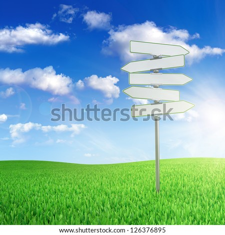 Road sign in the middle of green field with cloudy sky on background
