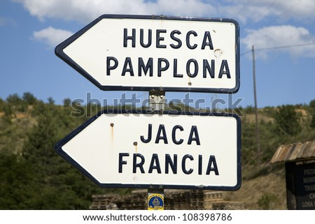 Road sign in the Pyrenees Mountains, Spain