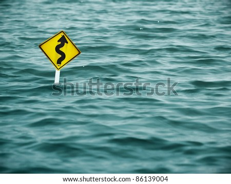 road sign in the severe flood