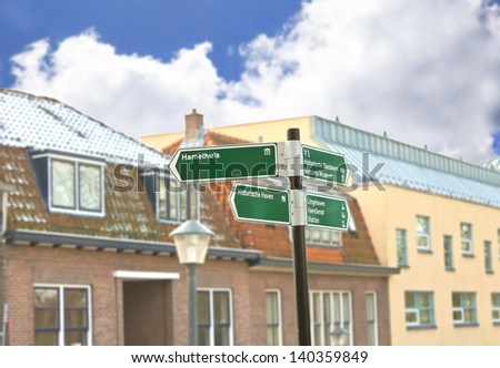 Road sign in town Gorinchem. Netherlands