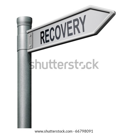 road sign indicating way to recovery economic growth market recovery button icon  isolated arrow