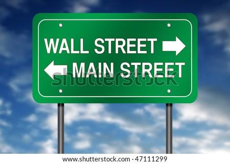 "Road Sign Metaphor with ""Wall Street - Main Street"""