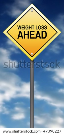 """Road Sign Metaphor with """"Weight Loss Ahead"""""""