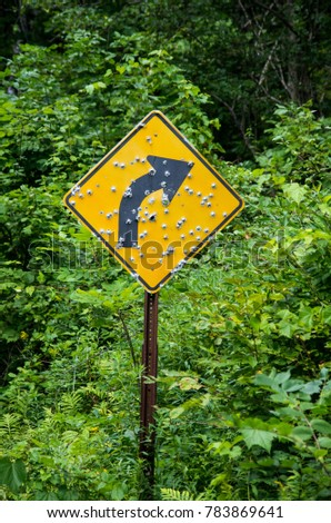 Road sign on a country road with a lot of  bullet holes shot into it