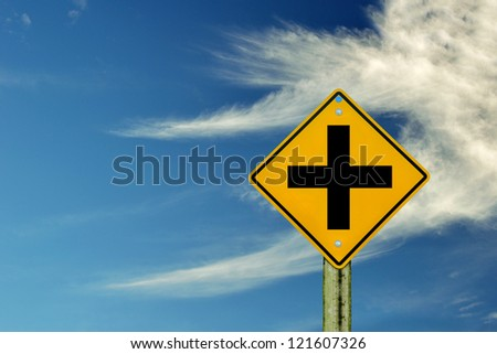 road sign on sky background,junction sign,intersection, crossroad.
