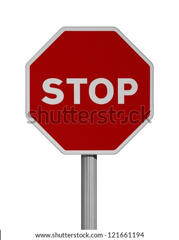 Road sign over white background-STOP