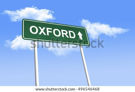 Road sign - Oxford. Green road sign (signpost) on blue sky background. (3D-Illustration)