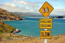 Road sign penguins crossing, Otago peninsula, New Zealand