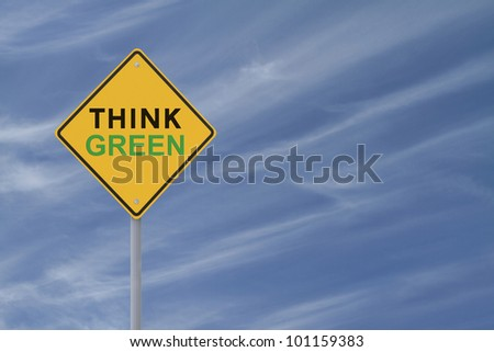 Road sign promoting environmental awareness with copy space
