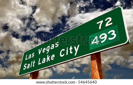 Road Sign's Contrasting Cities