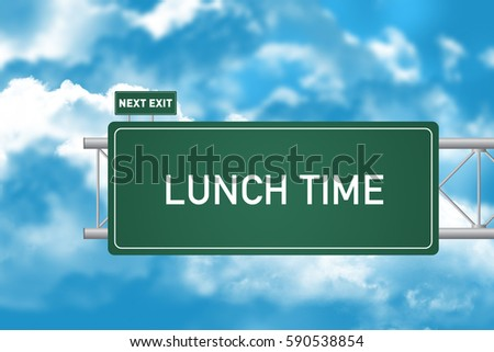 Road Sign Showing Lunch Time 590538854
