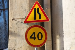 road sign speed limit forty kilometers. High quality photo