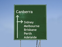 Road sign to Canberra and other big cities in Australia