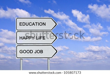 Road sign to education , ,happy life, and good job