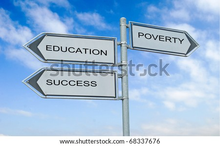 Road sign to education , success, and poverty
