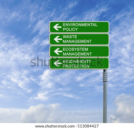 Road sign to environmental policy