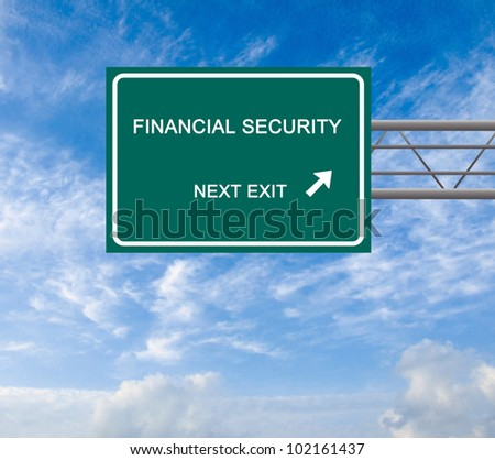 Road sign to financial security