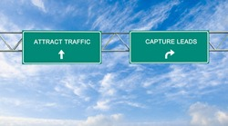 Road sign to traffic attraction and lead capture