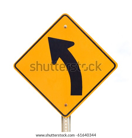 Road sign warning of dangerous left curve isolated on white background.