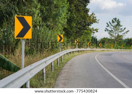 Road sign warning sign for turn right. #775430824