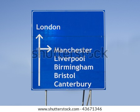 Road sign with different cities in England