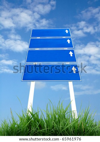 Road Sign with green grass and blue sky #65961976
