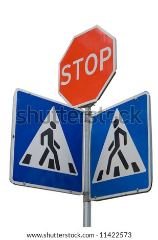 Road sign with stop and crosswalk pedestrian symbols warning authority rule