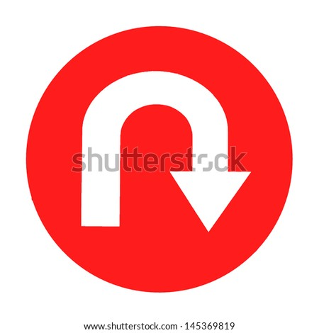 road sign with turn symbol isolated on white background,U-Turn Roadsign