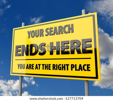 Road Sign with Words Search Ends Here with Blue Sky Background