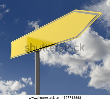 Road Sign Yellow Blank Single with Blue Sky Background