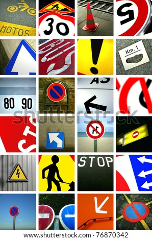 Road signs collage