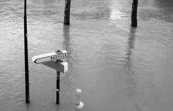 "Road signs during Seine flooding in Paris. ""Bastille"" direction."