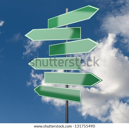 Road Signs green on Sky Background with copy space