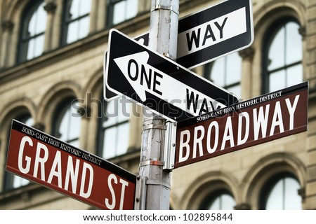 Road signs in Manhattan, New York city, USA. - stock photo