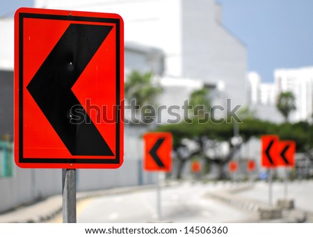 road signs - left pointing arrows