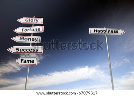 Road signs on blue sky to symbolize choices in lifestyle