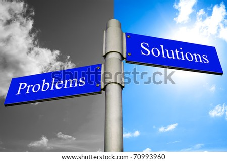 Road signs showing Problems and Solutions - stock photo