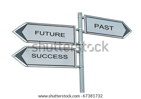 Road signs to future , success, and past