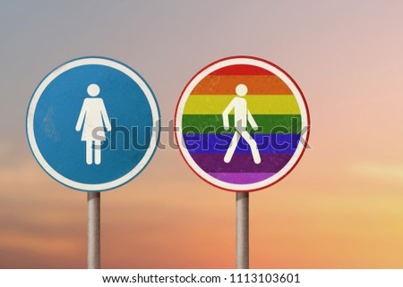 Road signs with symbols of gay man leaves the woman. LGBT, sexual orientation