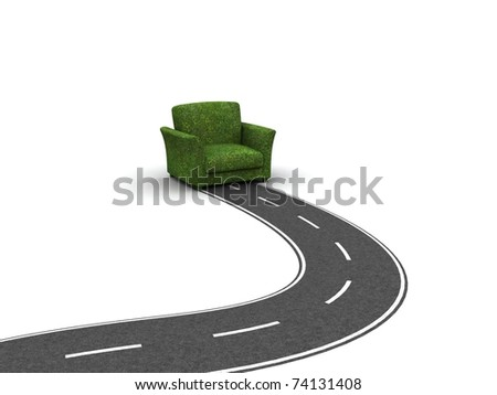 Road stopping before original grass armchair- symbol of the rest - stock photo
